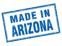 Arizona blue square grunge made in stamp - stock illustration