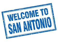 San Antonio blue square grunge welcome isolated stamp - stock illustration