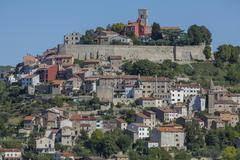 Stock Photo of Idyllic village on hilltop with Venetian fortress Motovun Istria Croatia Europe