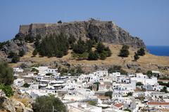 Acropolis of Lindos Lindos Rhodos Doedekanes Greece Europe - stock photo