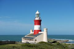 Lighthouse at Cape Agulhas southernmost point of Africa Western Cape South Stock Photos