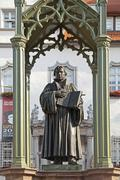 Stock Photo of Monument to Martin Luther in front of the town hall Wittenberg SaxonyAnhalt