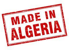 Algeria red square grunge made in stamp Stock Illustration