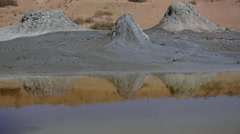 Mud volcanoes in Qobustan, Azerbaijan. Stock Footage