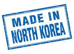 North Korea blue square grunge made in stamp - stock illustration