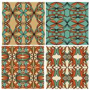 Set of colorful geometric patterned tiles in nostalgic retro colors, art deco Stock Illustration