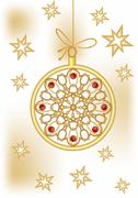 Christmas ball with golden filigree lace patterns and stars on background. De - stock illustration