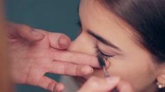 Master class for lengthening eyelashes. Stock Footage