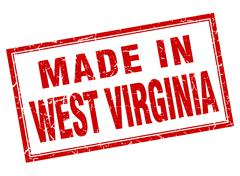 West Virginia red square grunge made in stamp Stock Illustration
