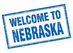Nebraska blue square grunge welcome isolated stamp - stock illustration