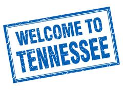Tennessee blue square grunge welcome isolated stamp - stock illustration