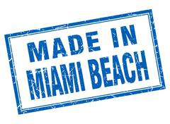 Miami Beach blue square grunge made in stamp Stock Illustration