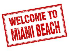 Miami Beach red square grunge welcome isolated stamp - stock illustration