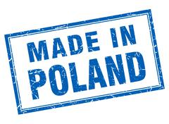 Poland blue square grunge made in stamp - stock illustration