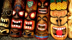Totem in Market in Maui, Hawaii Stock Footage