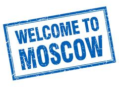 Moscow blue square grunge welcome isolated stamp Stock Illustration