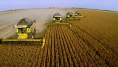 Four combine to harvest. Aerial shot - stock footage