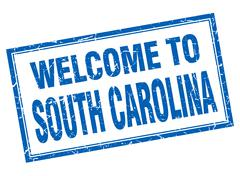 South Carolina blue square grunge welcome isolated stamp - stock illustration