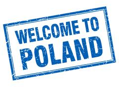 Poland blue square grunge welcome isolated stamp Stock Illustration
