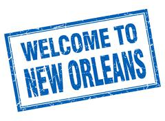 New Orleans blue square grunge welcome isolated stamp Stock Illustration