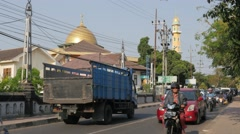Busy road with traffic,Malang,Java,Indonesia Stock Footage