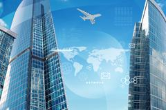 High-rise buildings with map - stock illustration