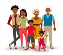 Happy African American family illustration Stock Illustration