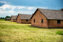 Barracks in former Nazi concentration camp - stock photo