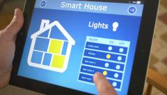 4K Smart House Automation Lights Control App On Tablet Stock Footage