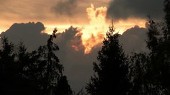 burning sunset with clouds and trees - stock footage