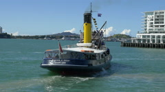 Steam Tug William C Daldy maneuvers in Auckland's Central Harbour, New Zealand Stock Footage