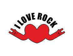 I love rock. Heart with rock hands sign. Symbol for lovers of rock music. Log Piirros