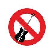Stop music. Ban for rock music. Red forbidding character. Forbidden electric  - stock illustration