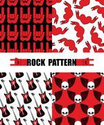 Rock pattern. Set seamless patterns  theme of rock music. Rock hand Symbol ba - stock illustration