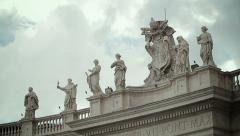 St. peter's square and bernini's colonnade with dramatics clouds in background Stock Footage