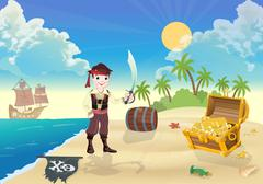 Young  pirate  and treasure Island - stock illustration
