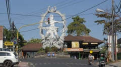 Arjuna statue on crossroads,Ubud,Bali,Indonesia Stock Footage