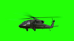 Military helicopter UH-60 Black Hawk realistic 3d animation. Green screen Stock Footage