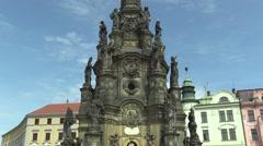 UNESCO heritage plague column, town Olomouc Stock Footage