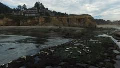 Hotel/Condos with Seals in foreground on Oregon Coast Stock Footage