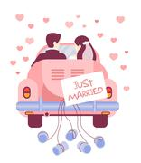 Stock Illustration of Just Married on Car. Vector Illustration