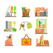 Repair and Moving Web Icon Set. Vector Illustration in Flat Style - stock illustration