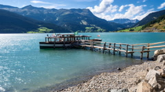 Ship in lake Reschensee Stock Footage
