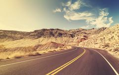 Vintage style USA country highway, travel concept. - stock photo