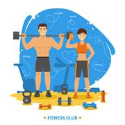 Fitness Couple Concept - stock illustration