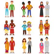Stock Illustration of National Couples Icons Set