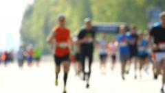 Blurred mass of marathon people Stock Footage