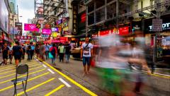 HONG KONG - October 2015: Street view with people and glowing signboards. 4K Stock Footage