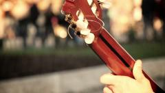 street artist playing classical acoustic guitar: crowd, people, pedestrian - stock footage