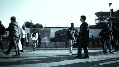 crowd of  people walking in Rome; side view - stock footage